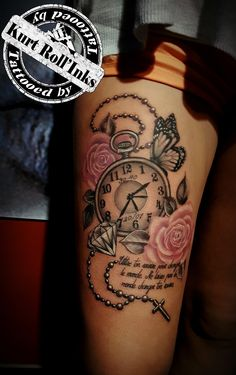 #clocktattoo #rosetattoo #butterflytattoo #inkedgirl #kurtRollinks #belgiumtattoo #tattooed #killerink #eternalink