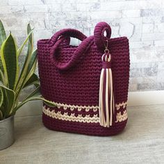 Anchors Aweigh Tote in Sinfonia by Kathy Olivarez in Crochet! magazine Anchors Aweigh Tote pattern by Kathy Olivarez, Crochet Patterns - Design is maCrochet Accessory Patterns - Design is made using 2 skeins of Navy and 1 skein of Khaki DK-weight Ome Free Crochet Bag, Crochet Tote, Crochet Handbags, Crochet Purses, Crotchet Bags, Knitted Bags, Hand Knit Bag, Tote Pattern, Simple Bags