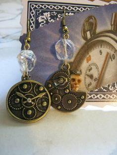 Steampunk Skull Gears Earrings by jansbeads on Etsy