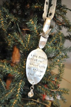 Stamped spoon Christmas ornament