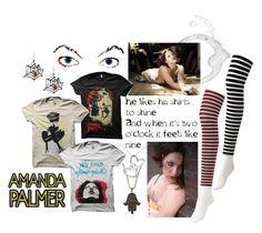 """Amanda Palmer"" by nancyrolereversal ❤ liked on Polyvore featuring Vanessa Mooney, Blue Nile, Uniqlo, stripes, rock and amandapalmer"