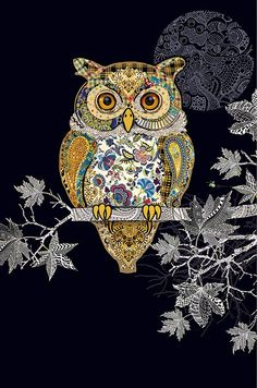 Decorative Owl by Jane Crowther for Bug Art greeting cards. Embossed with gild and silver foil. Bug Art, Owl Pictures, Owl Always Love You, Cute Owl, Art Plastique, Fabric Art, Folk Art, Applique, Artsy