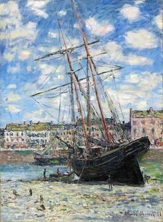 1881 Claude Monet Boat lying at low tide (Fuji Art Museum) (80 x 60 cm) Claude Monet, Born in Paris, France November 14 1840 died December 5 1926 at the age of 86 years old. Né à Paris, France le 14 novembre 1840 décès le 5 décembre 1926 à l'âge de 86 ans. ~ Chantal~