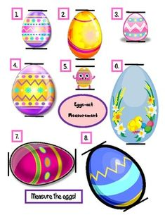 Eggs-act Measurement is an easy, thematic printable designed to enhance measurement skills in whole groups, partnered activities or in a Math Center.  Students will measure brightly colored eggs, record their findings, and have a chance to design and measure their own egg.