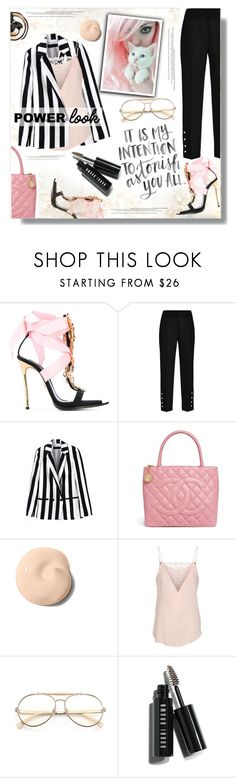 """""""Power Puff"""" by eilselrenrag ❤ liked on Polyvore featuring Dsquared2, Chanel, Yves Saint Laurent, Custommade, Wildfox, Bobbi Brown Cosmetics and powerlook"""