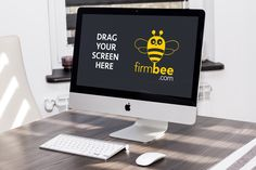 Apple iMac on the table - free PSD mockup #apple #imac #pc #keyboard #mouse…