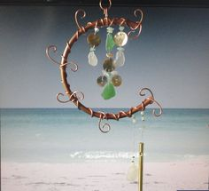 Rising Tides, Garden Sculpture, Earth and Moon, Sea Glass and Metal Mobile, Wall Hanging, Wind Chime