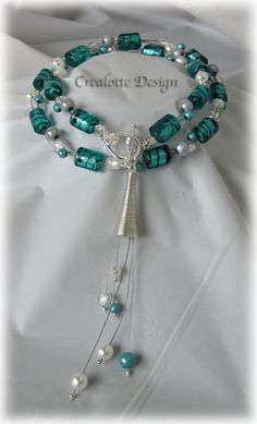 Turquoise waterfall necklace by crealotte on Etsy, $50.00