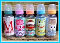 Frog Baby Bottle Cover In the Hoop Applique Design by Applique Junkie