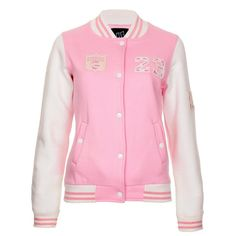 Pink Baseball Jacket (Pink) ($23) ❤ liked on Polyvore featuring outerwear, jackets, tops, casacos and pink jacket