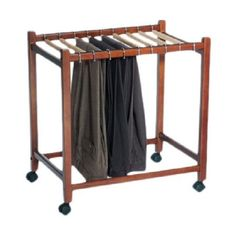 Rolling Pants Clothes Closet Garment Storage Trouser Rack Hanger Trolley Cart #Unbranded