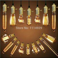 Barato Lâmpadas luzes pingente Vintage lâmpada de cobre único americano Edison…