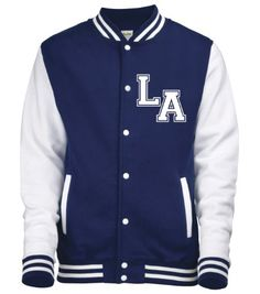 NAVY & WHITE SLEEVES VARSITY JACKET with two initials ONLY.