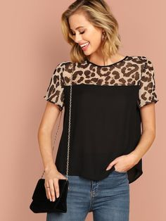 Shop Keyhole Back Leopard Yoke Top online. SHEIN offers Keyhole Back Leopard Yoke Top & more to fit your fashionable needs. Umgestaltete Shirts, Shirt Blouses, Tee Shirt Dentelle, Fashion News, Fashion Outfits, Leopard Print Top, Collar Top, Mode Style, Summer Tops