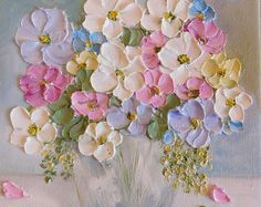 Custom Oil Painting impasto canvas painting by KenziesCottage Acrylic Flowers, Oil Painting Flowers, Pastel Flowers, Texture Painting, Acrylic Art, Vintage Flowers, Vintage Soft, Painting Walls, Vintage Ideas