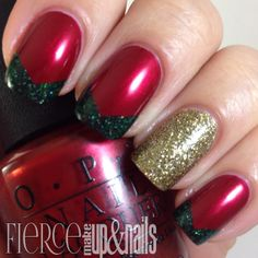 fierce makeup and nails the digit al dozen does red gold and green - Red And Green Christmas Nails