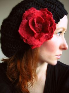 Black Knit Beret With Red Hand Felted Flower Corsage/brooch