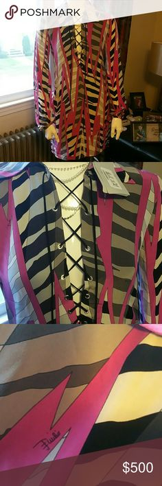 EMILIO PUCCI EMILIO PUCCI DRESS. Lace up front, one of the ends of lace is missing,  see picture 6 to see what it looks like. This is NWT. Emilio Pucci Dresses