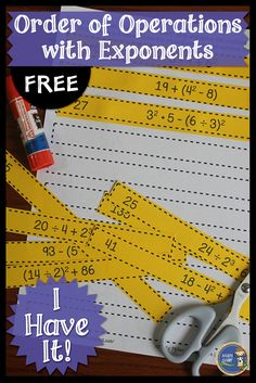 Practice order of operations with exponents with this cut & paste activity. I Have It is great for individual work, interactive notebooks, or math centers. Click here to check it out! FREE gr 4-7