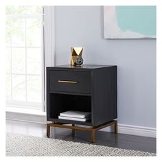West Elm Alexa Nightstand (€285) ❤ liked on Polyvore featuring home, furniture, storage & shelves, nightstands, west elm nightstand, acacia wood furniture, west elm, west elm bedside table and west elm furniture