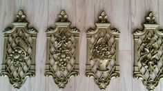 Vintage Retro Set of 4 1971 Dart Rococo Baroque Plastic Wall Decor Hangings 3-D
