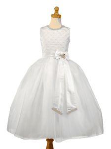 Christie Helene Couture Communion Dress -Reese - Diamond White Silk and Organza Dress with Rhinestones - Designer First Holy Communion Dress UK Stockists - Ballerina Length Communion Dresses for Girls