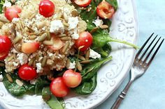 Quinoa, Cherry, Feta, and Spinach Salad from Yummy Mummy. Healthy and SO Yummy!