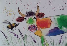 Colourful Cow & Bee Original  watercolour painting size A3  Casimira Mostyn