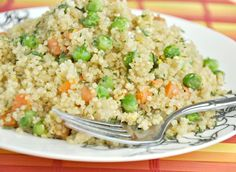 "Quinoa ""Fried Rice"" -- Yay!  A healthier, lower sodium option with instructions for cooking quinoa as opposed to rice."