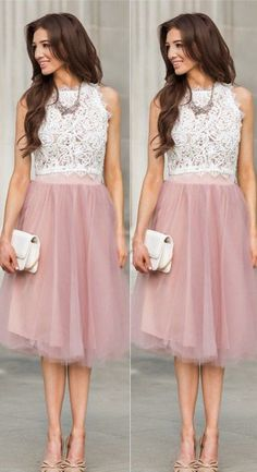 short homecoming dresses, white lace and pink tutu short homecoming dresses party dresses prom dresses Lace Homecoming Dresses, Best Prom Dresses, Formal Evening Dresses, Elegant Dresses, Beautiful Dresses, Party Dresses, Graduation Dresses, Amazing Dresses, Formal Gowns