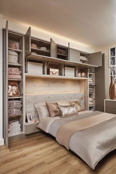 Bedroom wall: Over Bed Storage in 2019 Fitted bedrooms, Fitted bedroom furniture, Small bedroom storage Home Decor Bedroom, Home Bedroom, Small Bedroom Storage, Bedroom Interior, Bedroom Makeover, Luxurious Bedrooms, Small Master Bedroom, Small Bedroom, Narrow Bedroom
