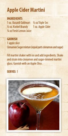 Apple Cider Martini -The perfect cocktail for your next Fall get-together!