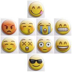 EMOJI / EMOTICONS of IPHONE  ios7 iPhone & by SkippyDogDesigns: You could totally wear these as emotion badges to give people a heads up on your mood... ;)