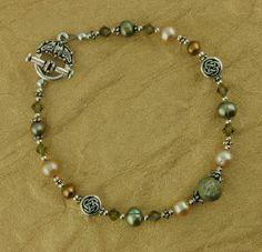 Irish Connemara Marble Freshwater Pearl and Swarovski Crystal