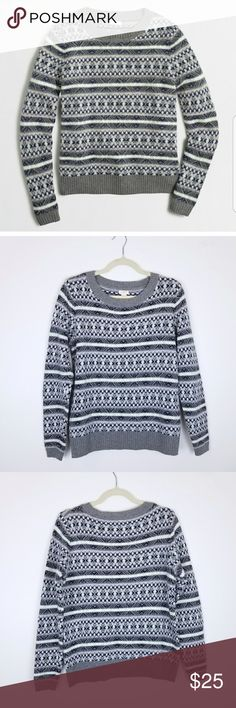 """[J. Crew] Fair Isle Sweater Soft crew pullover sweater, fair isle knit pattern in gray and blue with pops of mint.   Sleeve: 24"""" Length: 24.5"""" Bust: 38""""  T29 J. Crew Factory Sweaters Crew & Scoop Necks"""