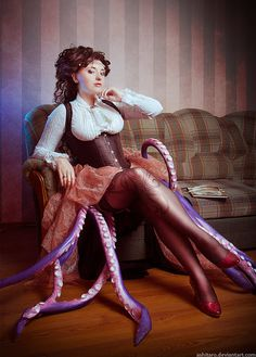 Steampunk Octopus Woman/Victorian Octopod Lady (kraken?) - For costume tutorials, clothing guide, fashion inspiration, steampunk event calendar, & more, visit SteampunkFashionGuide.com