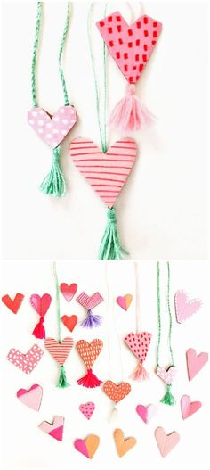 Cardboard Heart Yarn Tassel Necklaces. Cute recycled Valentine Art Project for Kids.