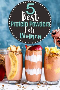 Top 5 Protein Powders For Women: Finding a great protein powder can be difficult. The protein powders in this post are perfect for women and weight loss. I also included a few protein powders breakfast recipes. #weightloss #proteinpowders Lemon Benefits, Matcha Benefits, Coconut Health Benefits, Smoothie Diet, Fruit Smoothies, Smoothie Recipes, Breakfast Smoothies, Protein Powder For Women, Best Protein Powder