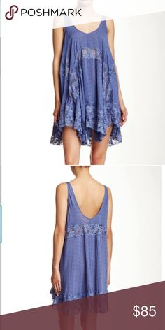 FP She Swings Dress-NEW! Loose fit trapeze mini dress with micro print and floral lace trim. Color is blue bell. Offers welcome, no trades Free People Dresses Mini