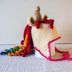 The Queen Rainbow Unicorn Hat - Cris Crochet Shop Rainbow Magic, Rainbow Unicorn, Crochet Unicorn Hat, Crochet Hats, Crochet Character Hats, Childrens Gifts, Unicorn Hair, Half Double Crochet, Crochet Patterns