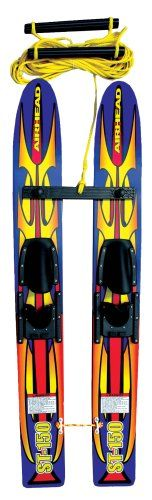 AIRHEAD ST-150 Trainer Water Skis - These 48 inch wood trainers make learning to ski fun for beginners under 100 lbs.. The double handle rope assembly, removable crossbar and ties at the tail make it easy to start and control. Designed for skiers under 100 lbs. The adjustable bindings fit child size 12 to adult size 5. Fiberglass reinforced nylon rudders increase stability and tracking.