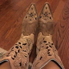 On Hold - Corral Brown Floral Tool Leather Boot Used Coral boots, normal wear. I wore about 5-6 times within last 2 years. Corral Shoes Heeled Boots