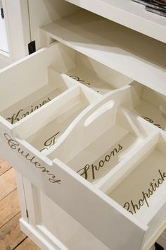 Built in labeled silverware drawer! Yep....just what I need. Love it.