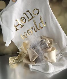 Hello World Newborn Girl Bodysuit Set, Take Home Outfit, Metallic Gold, With Over the Top Headband, Photo Prop, Feathers and Satin Bow, Neutral Colors, Grey, Gold and Ivory