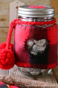 Valentine's Day mason jar cozy in buffalo check - cupcakesandcrinoline.com