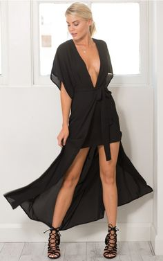 Plunging Heart Maxi Dress in black