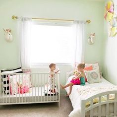 These sweet sisters are just too cute for words. 👭 It's so fun to see these shared spaces. Nice job And for more great… Baby And Toddler Shared Room, Boy And Girl Shared Room, Toddler Rooms, Girl Room, Girls Bedroom, Sibling Room, Sister Room, Shared Bedrooms, Kids Room Design