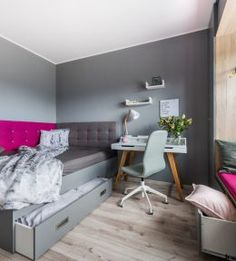 Grey and magenta for a university student. Simple and calm. Scandinavian Style, Magenta, Student Room, Prague, Bed, University, Students, House, Calm