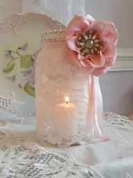 Beautiful lace and pearl mason jars for a bridal shower or wedding decor, but with a purple flower or ribbon instead.might be changing up my centerpieces again. - wish-upon-a-wedding Lace Mason Jars, Mason Jar Crafts, Estilo Shabby Chic, Bridal Shower, Baby Shower, Girl Shower, Ideias Diy, Mason Jar Centerpieces, Bottles And Jars