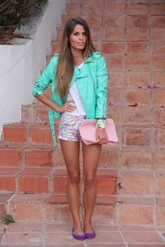 mint jacket + floral shorts!